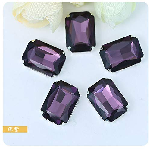 Pukido 10x14mm 20pcs Resin Glass Diamond Rectangle Rhinestone sew on Stones with Claw DIY Garment Accessories - (Color: Deep Purple)