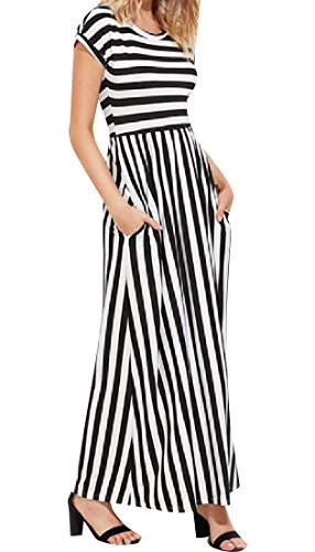 Women Pinstripe Line Coolred Dress Black Waist Elegant Short Sleeve High A rOddq8wYn