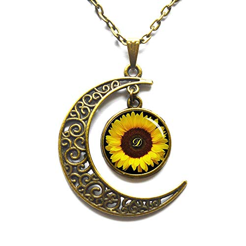 Crescent Moon Necklace,Sunflower pendant , Yellow Sunflower necklace , sunflower jewelry ,spring jewelry, yellow flower gift idea for friends , family]()