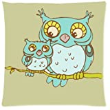Owl Throw Pillow Case Cushion Covers Square 18x18 Inch (one side)