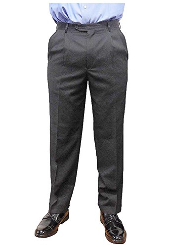 Kirkland Signature Men's Pleated Italian Wool Dress Slacks (Black, 34 x 34) - Black Italian Suit