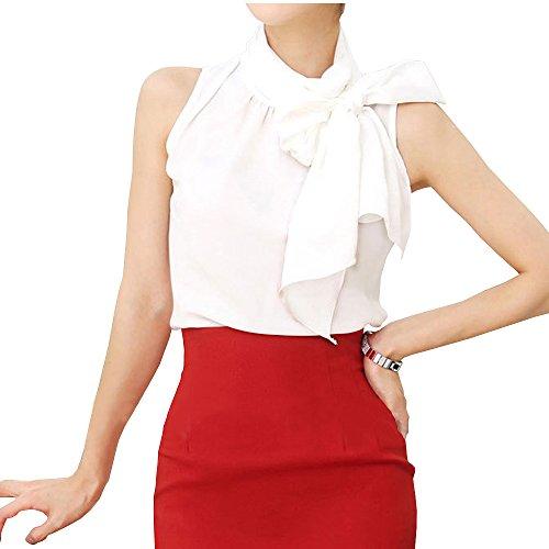 (Silk Bow Collar Sleeveless Shirt Blouse for Womens TC01 (S, White))