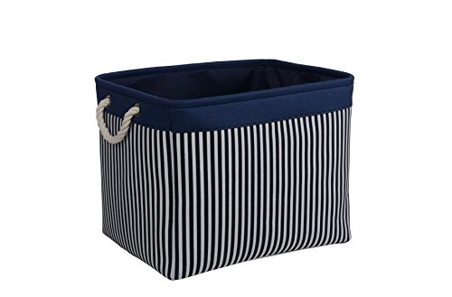 (TcaFmac Large Rectangular Nautical Baskets for Storage, Decorative Canvas Closet Storage Bins Organizing Baskets for Shelves, Nursery Toys,Empty 16(L) x 12(W) x 12(H) inch)