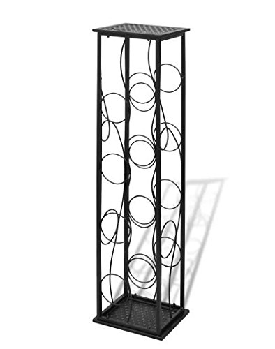 New Classic & Elegant Metal Wrought Iron in Black Poweder Coated 7.5 LB 8 Bottles Floor Standing Wine Rack SKB Family