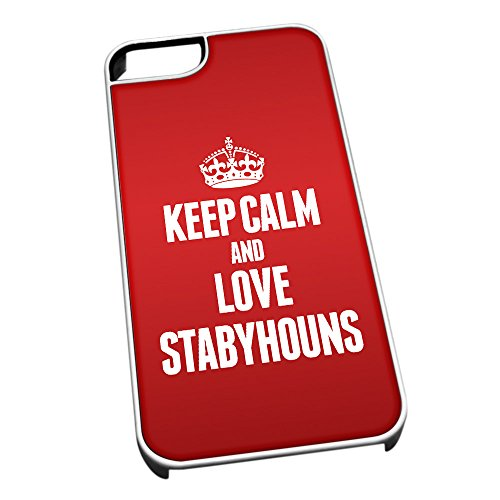 Bianco cover per iPhone 5/5S 2073 Red Keep Calm and Love Stabyhouns