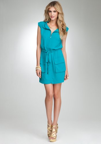 bebe Zipper Front Cinched Shoulder Dress