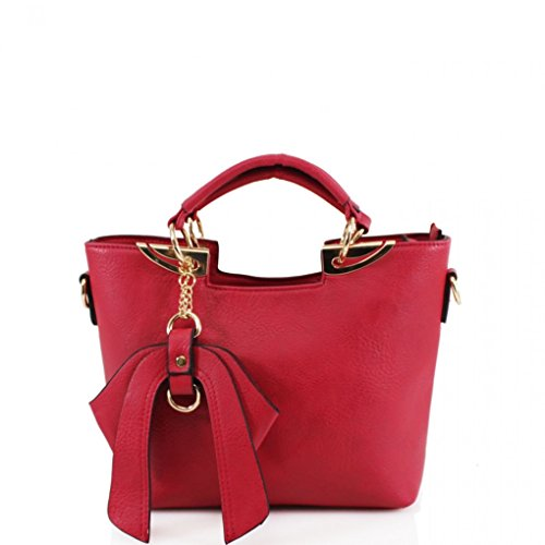 Handbags LeahWard Bow Grab Leather Tote Women's Shoulder Tote Bags With 32 Faux Red zXnXqWaT1