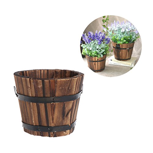 Aixia Rustic Brown Wood Succulent Pots Planters / Flower Buckets,Retro Round Wooden (1) ()