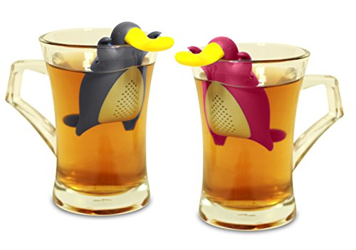 Tea Infuser Gift Set for Loose Leaf Tea, Cute Platypus Tea Strainer Pair in Lovely Gift Box, Ideal Couples Gift, Set of 2, Grey and Pink by MiraMiko (Image #2)