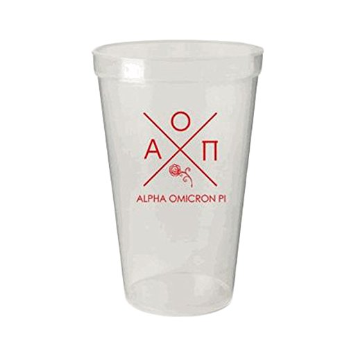 Greekgear Alpha Omicron Pi White Plastic Stadium Cups, Set of 6 ? Sharp Looking Cups Carry Sorority Name, 22-Ounce Size