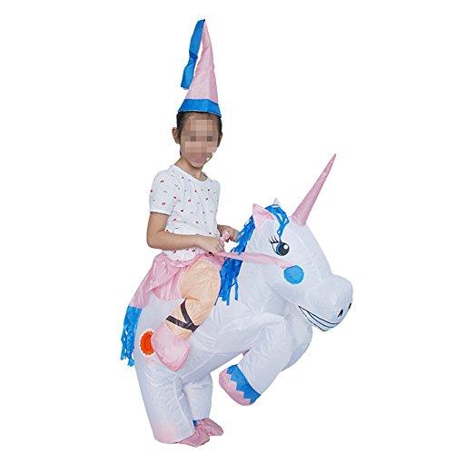 Vantina Inflatable Unicorn Rider Costume Adult Child Halloween Costumes Blow Up Horse Costume -