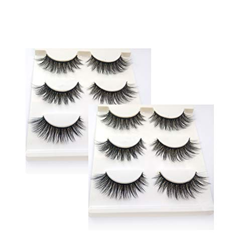 Trcoveric 3D False Eyelashes 6 Pair Pack, Makeup Hand-made Dramatic Thick Crisscross Deluxe Faux Mink Fake Lashes Black Nature Fluffy Long Soft Reusable