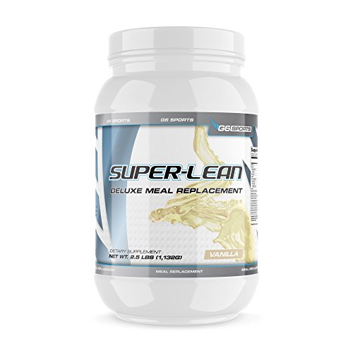 G6 Sports Nutrition Super-Lean Deluxe Meal Replacement (32g Protein, 7g Fiber, 25 Added Vitamins & Minerals) – 2.5lb Jar – Vanilla -