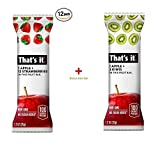 That's it. Apple + Strawberry 100% Natural Real Fruit Bar, Best High Fiber Vegan, Gluten Free Healthy Snack, Paleo for Children & Adults, Non GMO Sugar-Free, No Preservatives Energy Food (12 Pack) Review