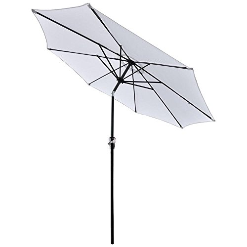 9 ft Outdoor Patio Tilt Table Umbrella White