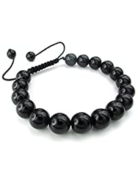 Konov Jewelry Natural Gemstone Crystal Agate Onyx Beads Mens Womens Bracelet, Classic Yoga Braided, 7-9 inch Adjustable, Black, with Gift Bag, C24438