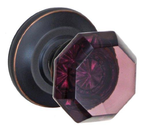 Fusion Hardware V-18-Z2-0-ORB Full Set Victorian Violet Privacy Knob with Cambridge Rose Adjustable Backset, Oil Rubbed Bronze
