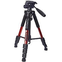 "Tairoad T1-111 Tripod 55"" Aluminum Lightweight Sturdy Tripod for Camera DSLR EOS Canon Nikon Sony Samsung Max Capacity 11lbs (Red)"