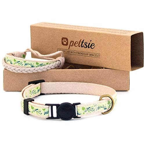 "Pettsie Kitten Kitty Collar Breakaway Safety and Friendship Bracelet for You, Durable 100% Cotton for Extra Safety, D-Ring for Accessories, Comfortable and Soft Cotton (5""-8"" Neck, Green)"