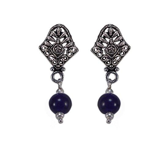 silvesto Inde Lapis Lazuli perles plaqué argent 925Boucles d'oreille Clous Sz 33mm PG 22862