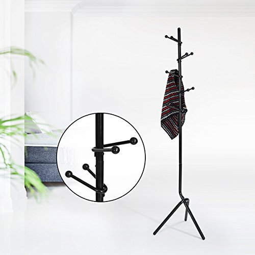 Black Metal Finish Modern Design Coat Rack Hat Hall Tree with 10 Hooks