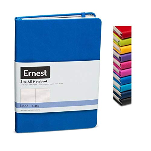 Ernest Classic Hardcover Notebook/Journal Blue-Lined, Premium Ivory Paper, Expandable Inner Pocket, Organizational Stickers (blue, lined) (Journal Blue Plain)