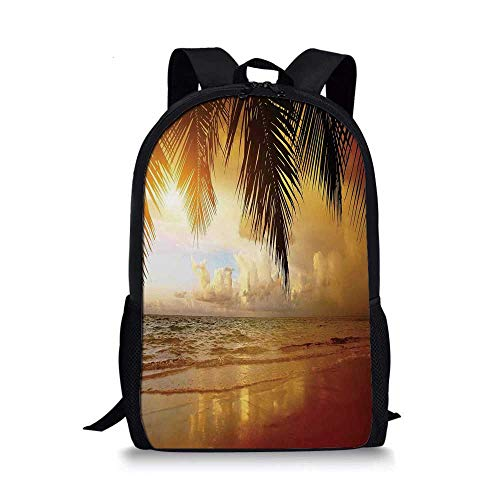 Ocean Decor Stylish School Bag,Sunset on the Beach of Caribbean Sea Coast for Boys,11''L x 5''W x 17''H