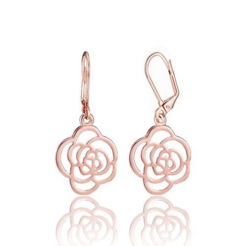 KINGSIN Sliver Flower Dangle Leverback Earrings for Women Girls Rose Gold Earrings Leverback