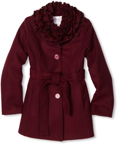 Jessica Simpson Coats Big Girls'  Ruffle Collar Coat