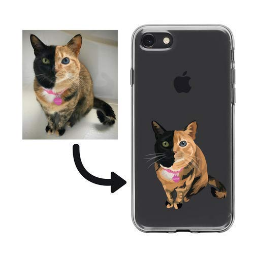 PERSONALISED Custom illustration Portrait Pet Cat Phone Case iPhone 5 6 7 8 9 X