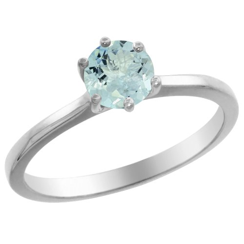 (14K White Gold Natural Aquamarine Solitaire Ring Round 6mm, size 6)