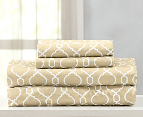 Beige Creme - Great Bay Home Printed Egyptian Quality Double Brushed Microfiber Sheet Set. Hypoallergenic, Wrinkle & Fade Resistant Sheets with Geometric Pattern. Jasmine Collection By Brand (Twin, Crème Brulee)