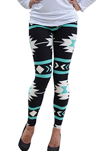 PinkWind Women's Geometric Printed Ankle Length Stretchy Leggings Sports Pants by PinkWind