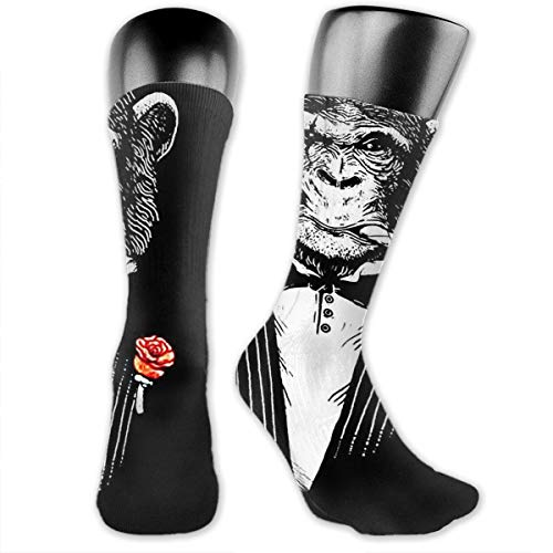 MFMAKER Black Monkeys Ape Wear Suits Athletic Mid-Calf Socks Women's Men's Classics Below Knee Stockings Sports Long High Ankle Compression Sock One Size