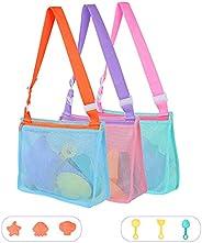 Susimond 3Pcs Beach Toy Mesh Bag with 6Pcs Sandbox Toys, Kids Sea Shell Collecting Bag, Beach Sand Toy Totes f