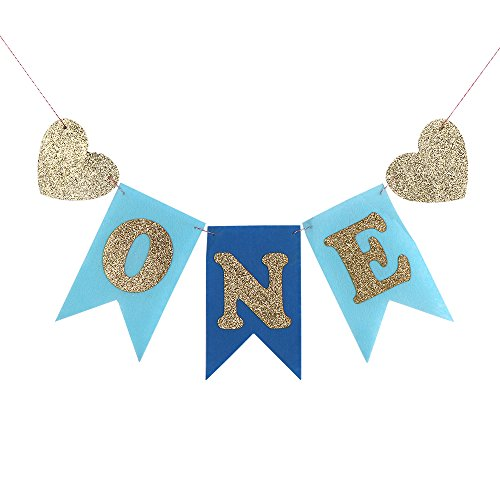 PALASASA Glitter Gold and Blue One Banner -First Birthday Decorations Burlap Highchair Banner for 1st Birthday Baby Boy
