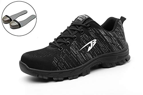 Womens Work Shoes Steel Toe Safety Shoes Puncture Proof Footwear Sneakers Black 39 ()