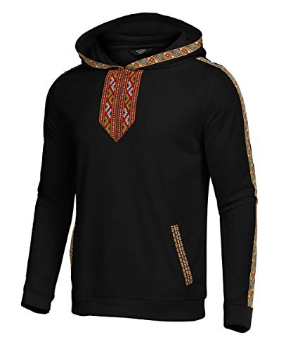 COOFANDY Mens Hip Hop Hoodies Tribal Style Pullover African Dashiki Sweatshirts Outwear