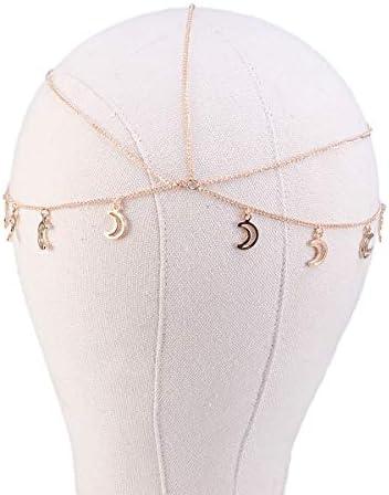 Beaupretty Hoofdketting sieraden maan hoofd hoofdketting sieraden boho hoofdtooi ketting festival haar hoofdband