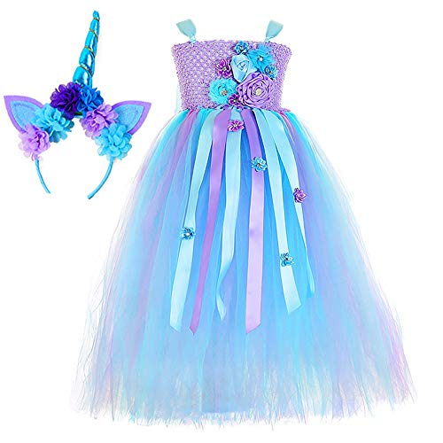 O'COCOLOUR Purple Unicorn Tutu Dress for Toddler Girls Kids Birthday Party Unicorn Costume Outfit with Headband (Turquoise, M(3-4T))]()