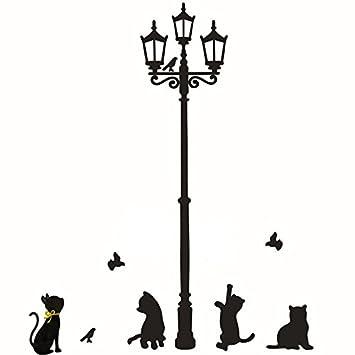 Rumas Street Lamp Lights Naughty Cat Wall Murals Art Diy Wall Stickers For Kids