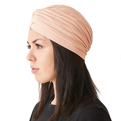 CHARM Fortune Teller Fashion Turban for Women - Arabian Boho Twist Wrap Turban, Texture Festival Hats, Indian Aladdin Costume Boho Light Pink B]()