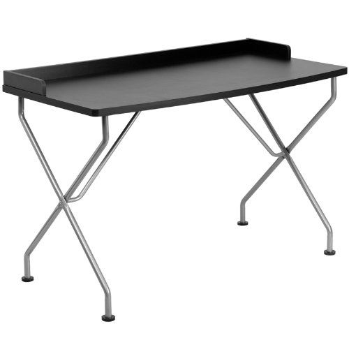 Black Computer Desk w/ Silver Frame