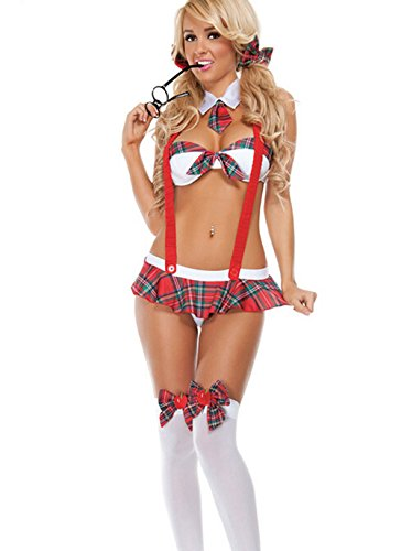 Iooho Women's Sexy School Girl Uniform Cosplay Strappy Halter Bikini Lingerie Set