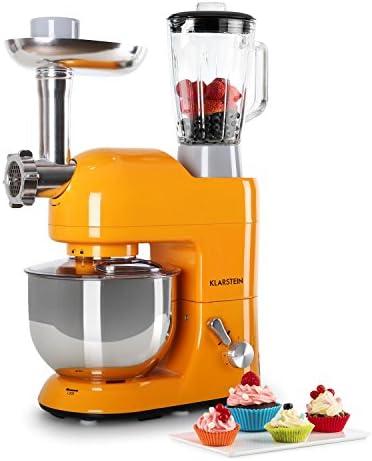 Klarstein Lucia Orangina - Robot de cocina universal, Batidora, Amasadora, Picadora, Licuadora, 5 L, Batido planetario, Cabezal para pasta, Recipiente de acero inoxidable, 1300 W, Naranja: Amazon.es: Hogar