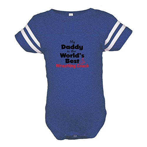 My Daddy is The World's Best Wrestling Coach Combed Ring-Spun Cotton Unisex Baby Sports Bodysuit Football Jersey - Royal Blue, 24 Months by Cute Rascals