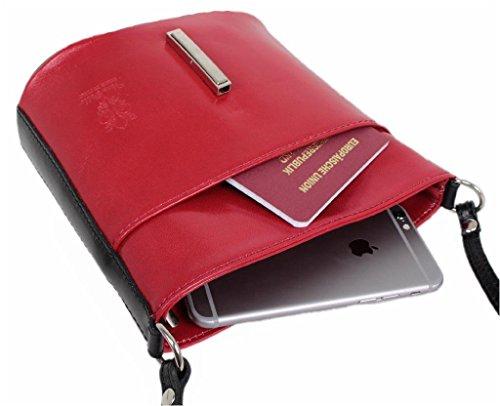 rouge à porter noir noir à Italy Sac femme l'épaule rouge LEATHERWORLD Rouge pour 4250736211195 xwzIUqz8