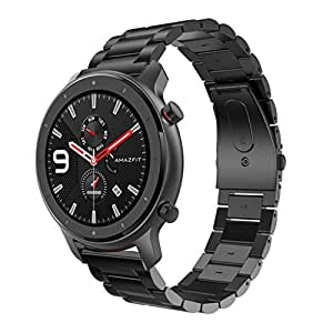 SHSH 1 correa de metal de repuesto para reloj inteligente AMAZFIT GTR de 47 mm de acero inoxidable, color negro, tamaño 47 mm