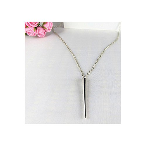 lassy Punk Style Vogue Rivet Spike Tassel 24 Long Chain Necklace (Silver) ()