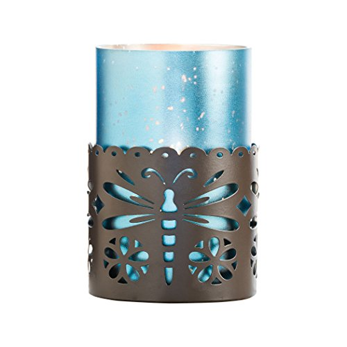 Dragonfly Denim (Dragonfly Pillar Holder Rustic/Antique Frosted)